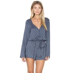 SANCTUARY INDIGO BLUE PRINT LONG SLEEVE ROMPER